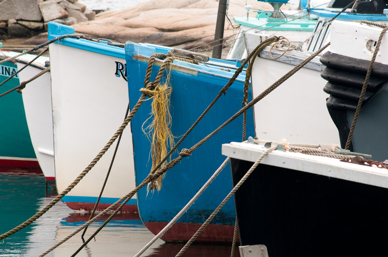 Bows of lobster boats, Rockport, MA