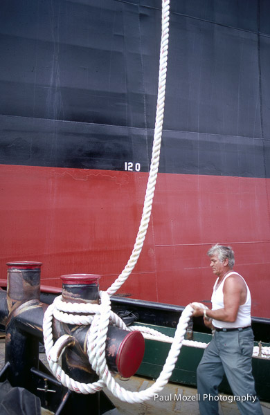 Deck hand on a tug boat in Boston Harbor
