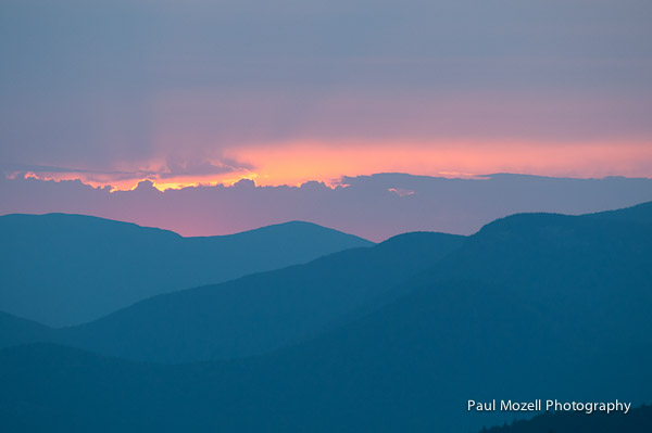 Blue sunset over the White Mountain National Forest, New Hampshire
