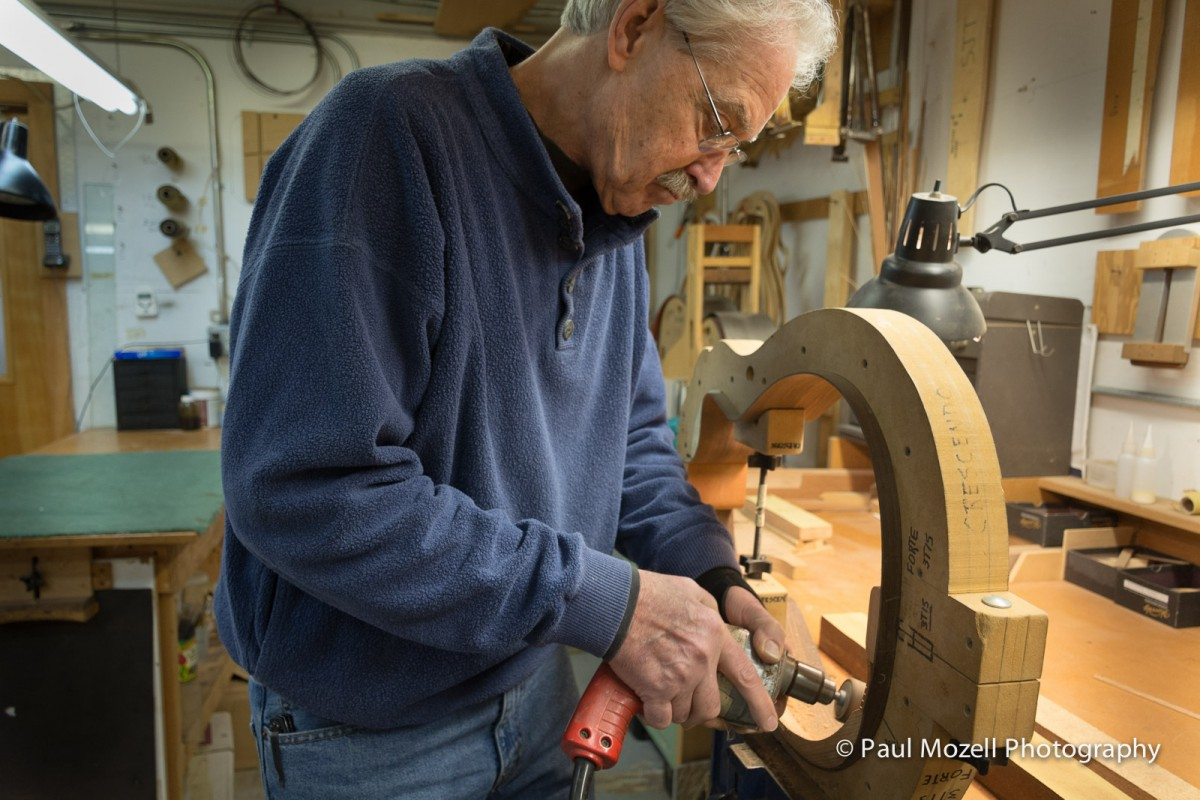 Shaping the armrest.