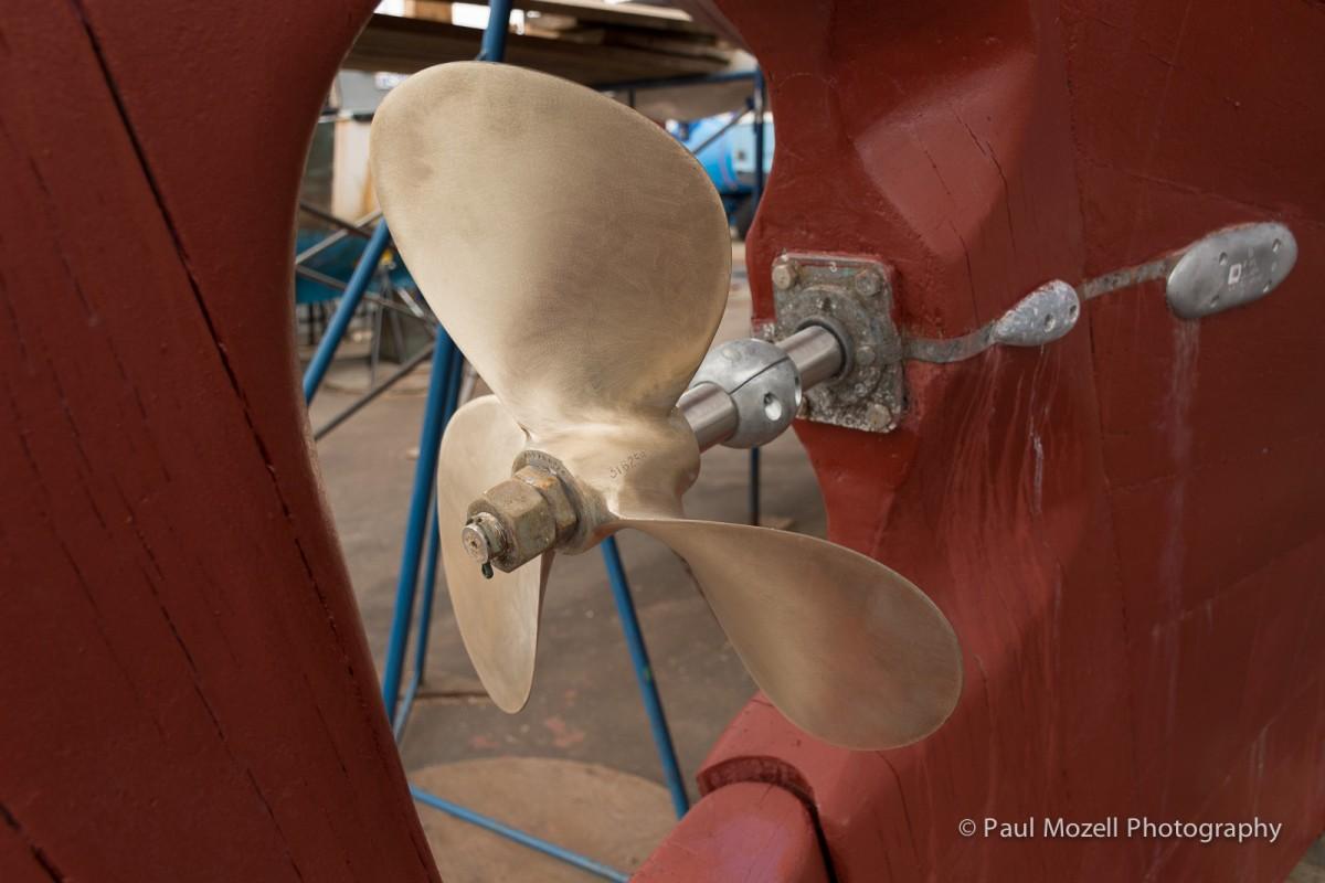 New Propeller on a wooden boat at Gloucester Marine Railways shipyard.
