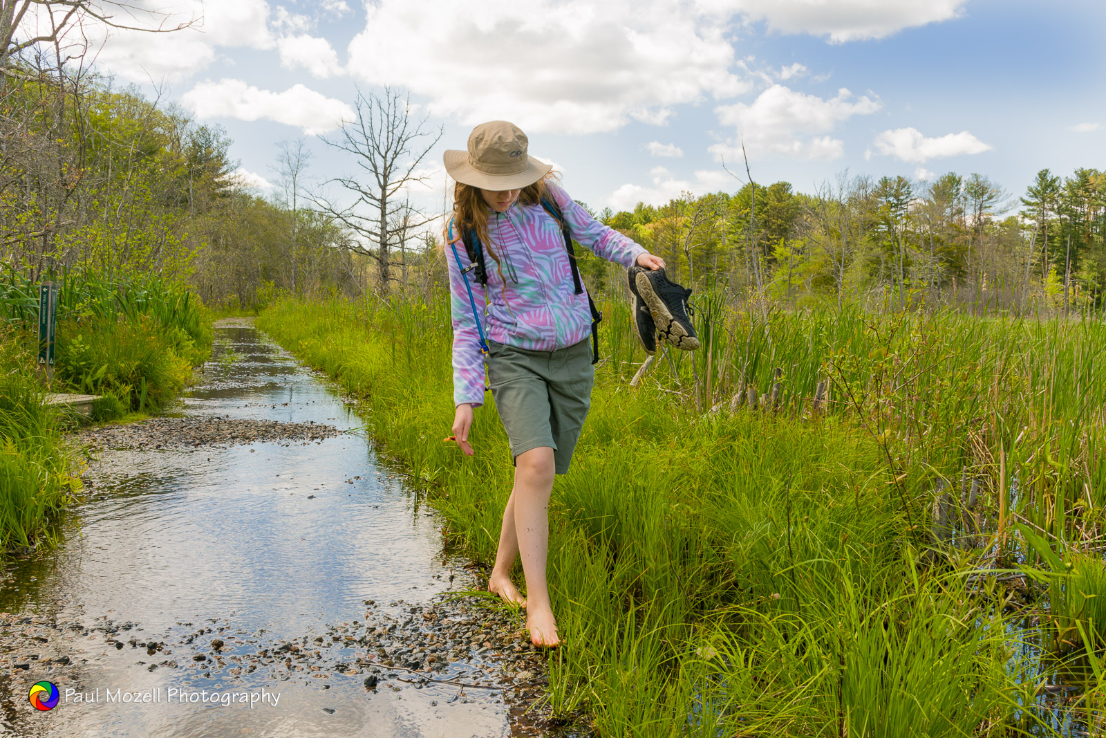 First good barefoot traverse of a flooded trail this spring.