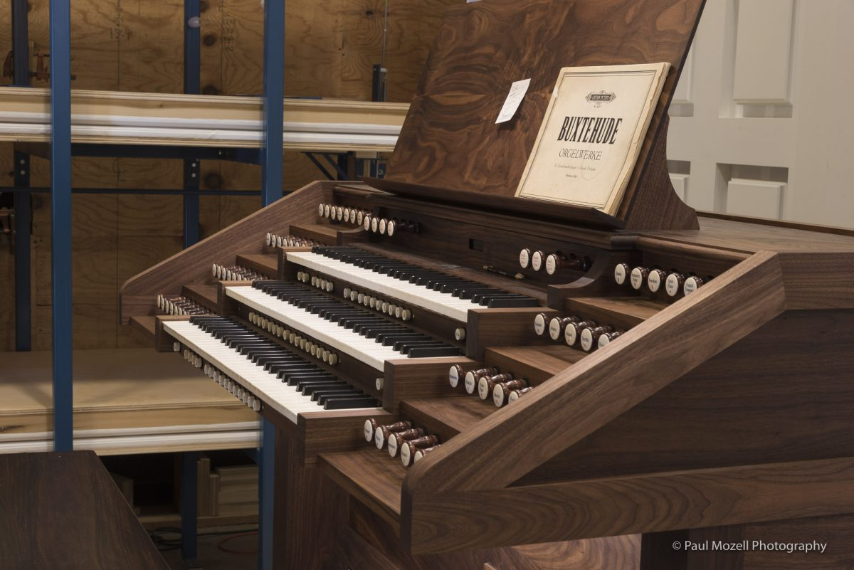 Keyboard of a new pipe organ bult by C.B. Fisk, Gloucester, MA